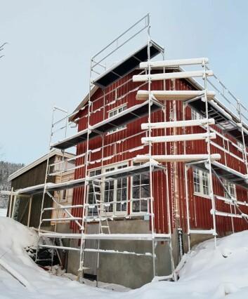 Fra byggingen nå i vinter. (Foto: Privat)