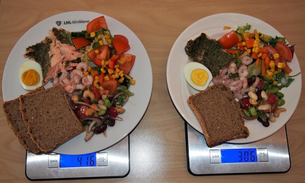 Bildet viser de to tallerkenene som er henholdsvis på 24 og 21 cm i diameter og vekt på maten som er lagt på disse. Illustrerer porsjonsstørrelser og at det er over 100 gram forskjell på mengde mat, selv om det synsmessig fremstår som omtrent like mye. (Foto Laila Dufseth)