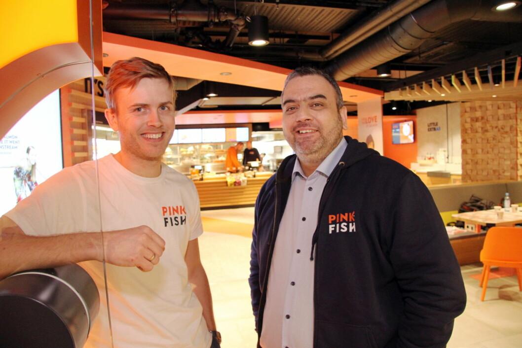 Pink Fish skal bli store – på verdensbasis, sier Geir Skeie (til venstre) og Ronny Gjøse. (Foto: Morten Holt)