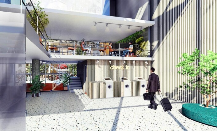 Illustrasjon av det kommende Citybox-hotellet i Tallinn. (Illustrasjon: Citybox)