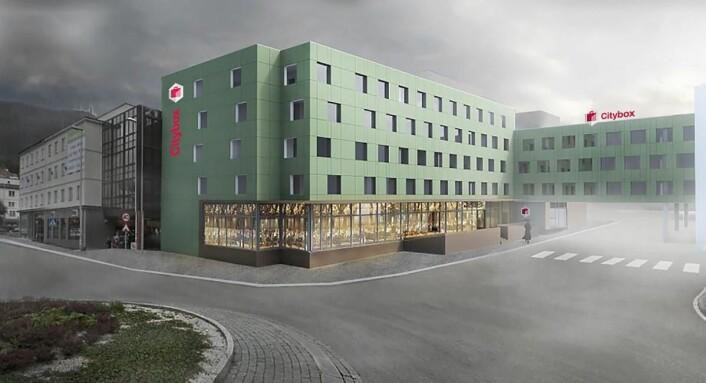 Citybox på Danmarksplass i Bergen. (Illustrasjon: Citybox)