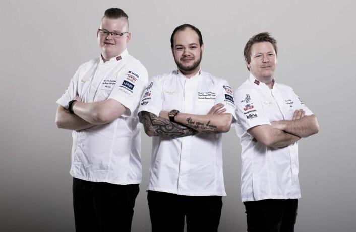 Team Norge i Bocuse d'Or Europe i Torino. Fra venstre Håvard André Josdal Østebø, Christian André Pettersen og Gunnar Hvarnes. (Foto: Fredrik Ringe)
