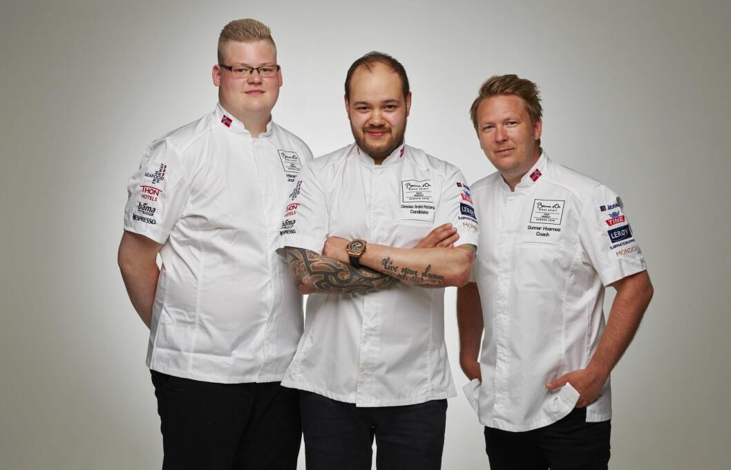 Det norske laget i Bocuse d'Or Europe 2018, fra venstre Håvard A. Josdal Østebø, Christian A. Pettersen og Gunnar Hvarnes. (Foto: Tom Haga)