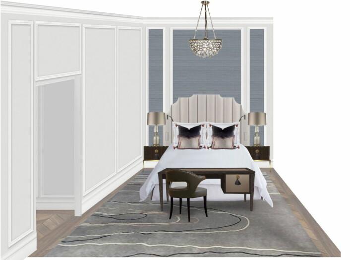 Tegning av et deluxe-rom, slik det blir når Britannia Hotel åpnes 1. april 2019. (Skisse: Britannia Hotel)