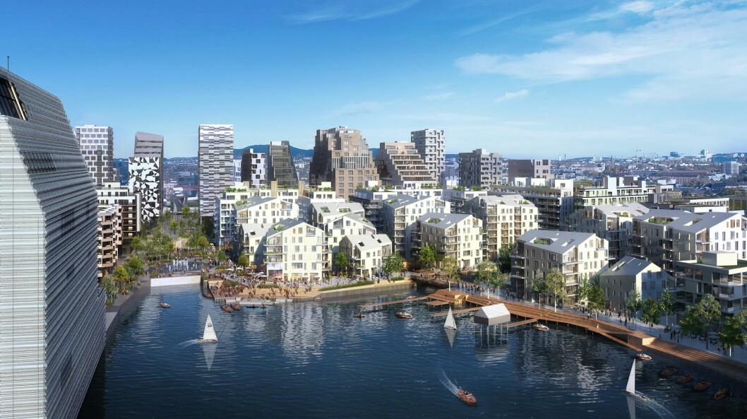 Slik blir det i Bjørvika i 2025. (Illustrasjon: Via Nova/Oslo S Utvikling)