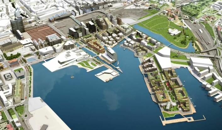 Skissen viser hvordan hele området i Bjørvika og Sørenga blir når det skal stå helt ferdig i 2025. (Illustrasjon: Via Nova/Oslo S Utvikling)