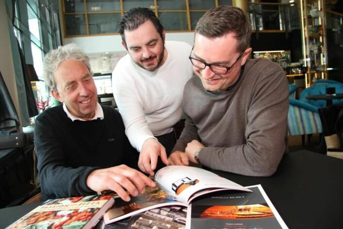 Tore Gjesteland (fra venstre), Raimondo Arnone og Bjørn Vestly står bak Pizza Angels. (Foto: Morten Holt)