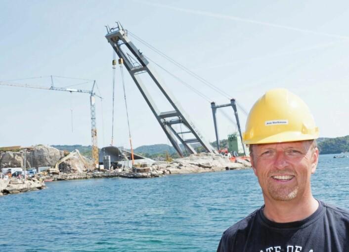 Prosjektleder Arne Marthinsen i Submar Group hadde en nervepirrende natt. (Foto: Georg Mathisen)