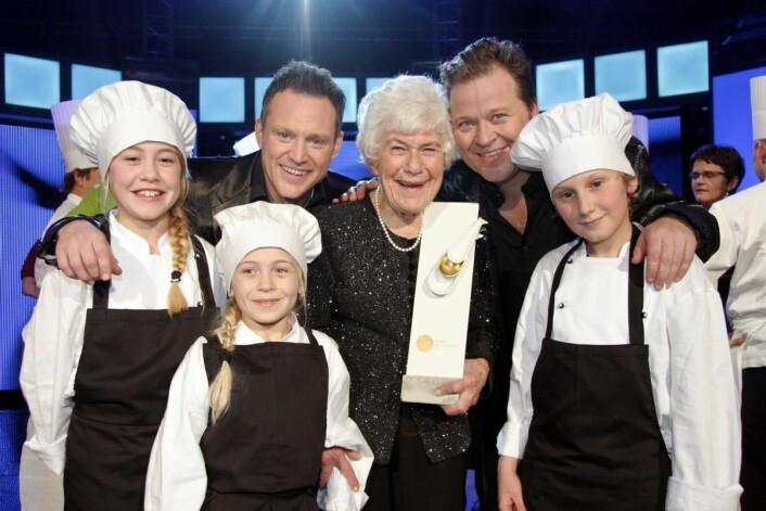 Ingrid Espelid Hovig da hun fikk Det Norske Måltids hederspris. (Foto: Morten Holt)