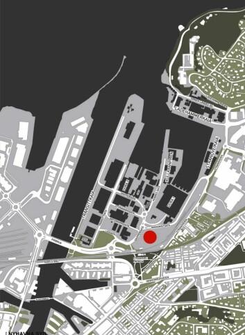 Kartet viser hvor det nye Scandic-hotellet skal bygges. (Illustrasjon: Scandic Hotels)