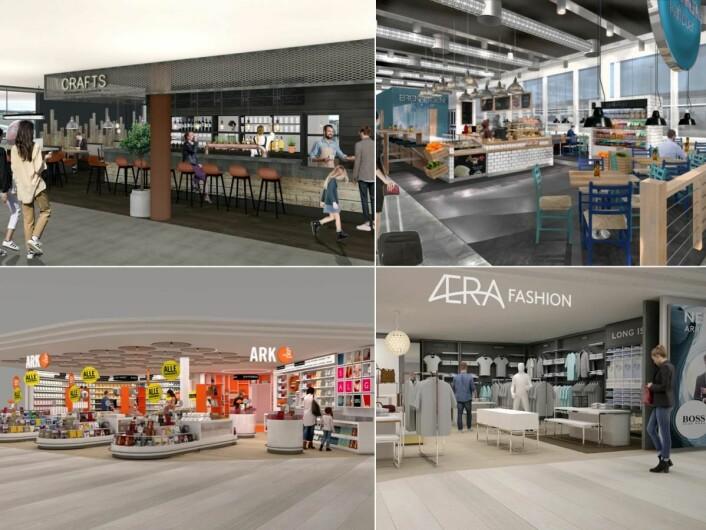 Flere butikker og serveringssteder er på vei inn i den nye innlandsterminalen – her er noen smakebiter. (Illustrasjon: Stavanger lufthavn Sola)