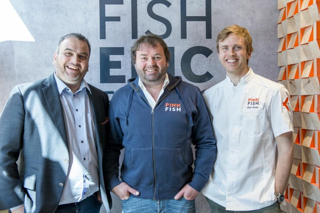 Gründerne bak Pink FIsh, Ronny Gjøse (fra venstre), Svein Sandvik og Geir Skeie. (Foto: Pink Fish)