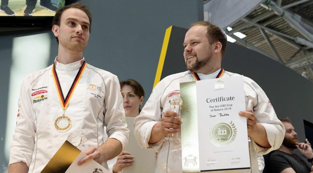 Det norske laget bestående av Nikolai Meling (til venstre) og Ivar Bakke tok en sensasjonell bronsemedaljes i VM for bakere i Tyskland. (Foto: Jon-Are Berg-Jacobsen, Vest Vind Media)
