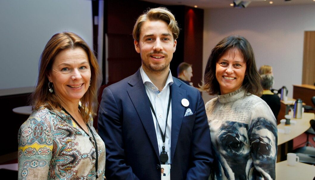 Anne-Grete Haugen (fra venstre), Erik Wold, og Anne Marie Schrøder fra Matvett. (Foto: Foodscape)