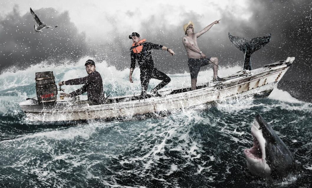 """Christopher Davidsen (fra venstre), Fredrik Ringe og Karl Erik Pallesen på """"fisketur"""" for å hente råvarer til førstkommende helgs popup-middag. (Foto/illustrasjon: Fredrik Ringe)"""