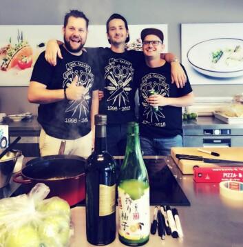 Christopher W. Davidsen (fra venstre), Fredrik Ringe og Karl Erik Pallesen fotografert da de hadde popup for Bob Stylister i august (Foto: Ingvild Lindås)