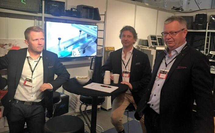 Geir Wiggen, Karl Asbjørn Haug og Kjell-Håvard Liane hos Empakk AS. (Foto: Arne Dalseng)