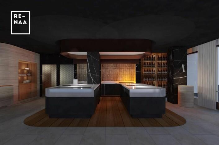 Sllik blir Re-Naas nye kjøkken på Eilert Smith Hotel. (Illustrasjon: Trodahl arkitekter)