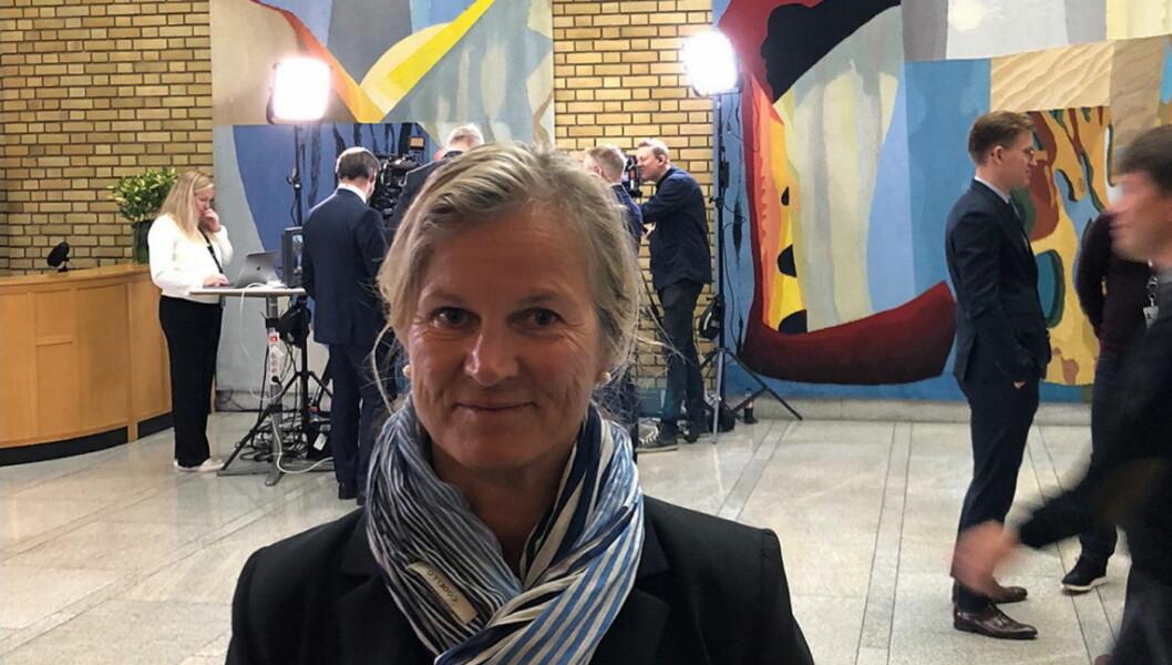 Kristin Krohn Devold på Stortinget i forbindelse med fremleggelsen av statsbudsjettet for 2019. (Foto: NHO Reiseliv)