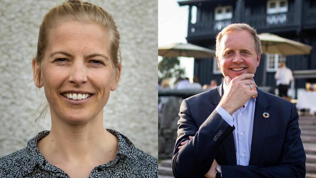 Marte von Krogh, teamleder for Matvalget i Debio (til venstre) og Bjørn Kjærand Haugland, direktør for bærekraft i DNV GL. (Foto: Foodscape)