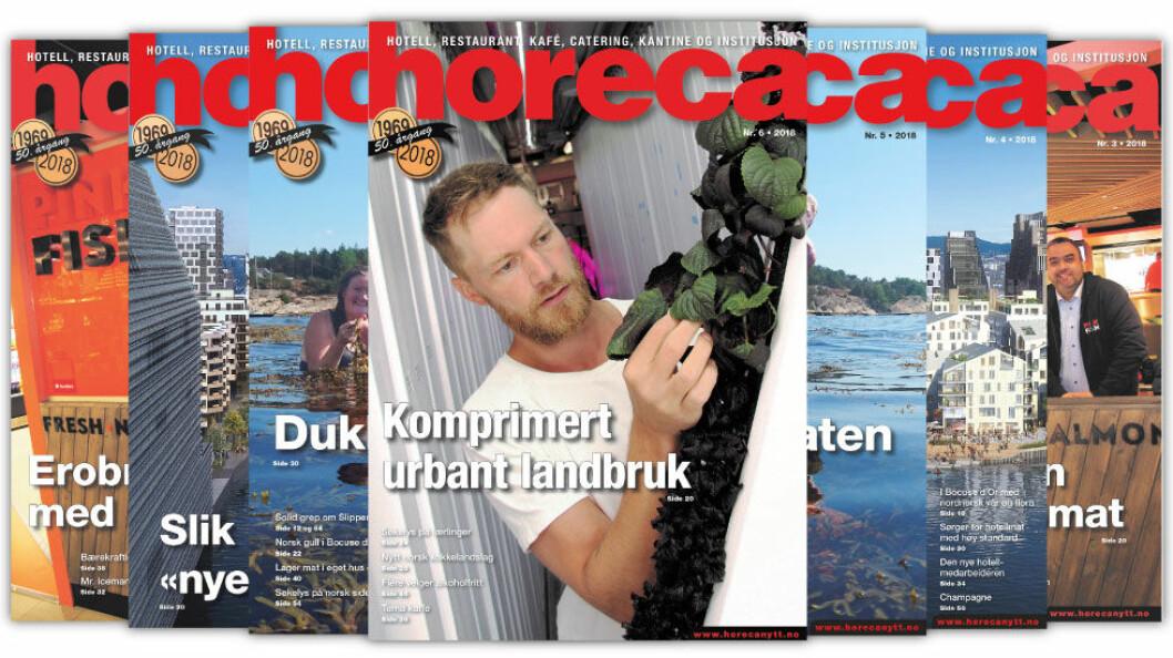 Omslaget på Horecas sjette utgave i 2018. (Foto: Morten Holt/layout: Tove Sissel Larsgård)