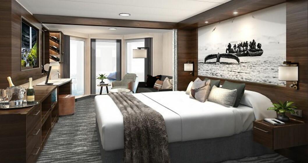 Slik blir de nye suitene på MS Richard With. Etter den største oppgraderingen i Hurtigrutens historie, skal skipet settes inn i trafikk i Kystruten Bergen - Kirkenes. (Foto: Hurtigruten)