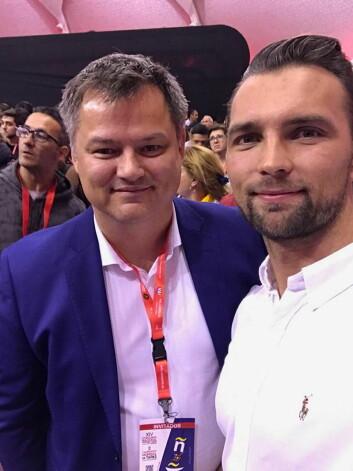 Spaniadirektør i Sjømatrådet Bjørn-Erik Stabell sammen med verdensmester i tapas i 2017, Øyvind Bøe Dalelv, er fornøyd med den norske innsatsen i tapas-VM. (Foto: Privat)