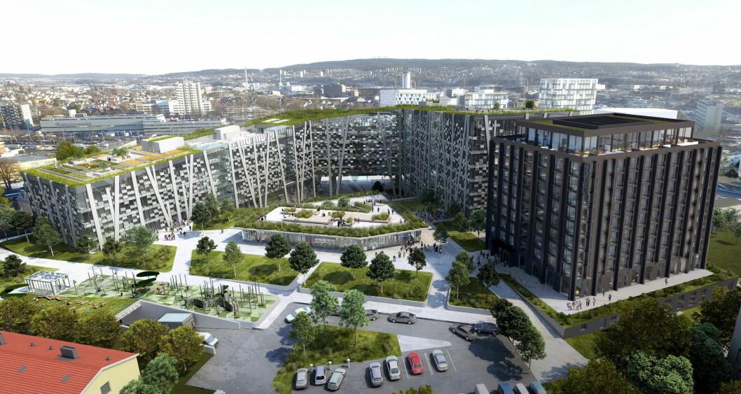 Slik blir Økern Portal når det skal stå ferdig i 2020/2021. Hotellet helt til høyre i bildet. (Illustrasjon: Økern Portal)