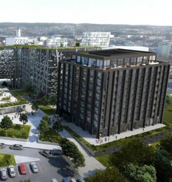 Hotellet i Økern Portal, som åpnes første kvartal 2022, får 224 rom. (Illustrasjon: Økern Portal)