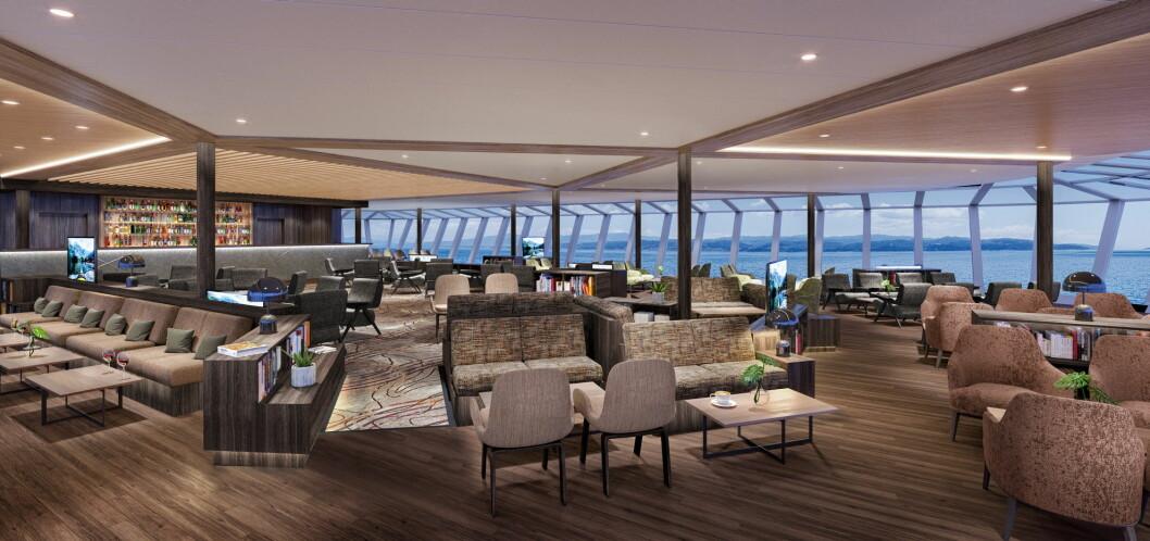 Slik blir Frams nye  Explorer Lounge & Bar, utsikt gjennom enorme panoramavinduer på tre sider. (Illustrasjon: Hurtigruten)