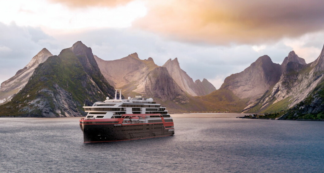 MS Roald Amundsen er klar for Alaska. (Illustrasjon: Hurtigruten)