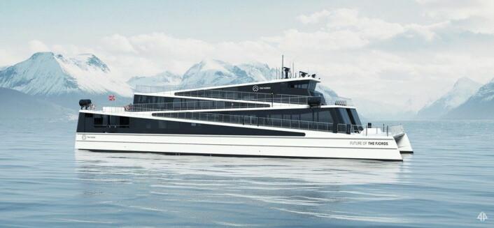 Dethelelektriske skipet Future of the Fjords. (Illustrasjon: Fjord1)