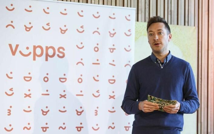 Espen Grotmoll er digital løsningsansvarlig i Olav Thon Gruppen. Her på pressekonferansen i Bergen med Vipps og Alipay. (Foto: Kilian Munch)