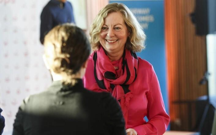 Vipps-direktør Berit Svendsen på pressekonferansen i Bergen. (Foto: Kilian Munch)