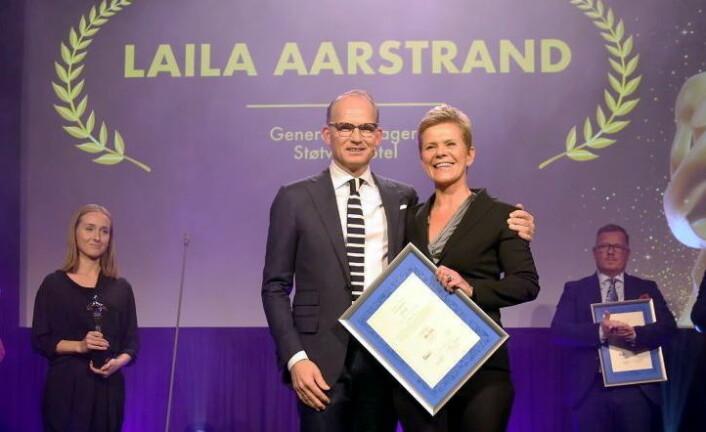 Laila Aarstrand sammen med juryleder Torgeir Silseth. (Foto: Camilla Bergan)