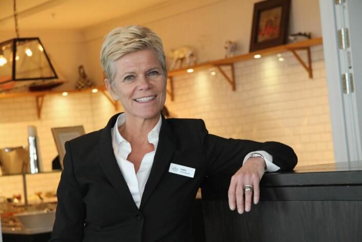 Laila Aarstrand, som leder Støtvig Hotel på Larkollen med stø hånd, er kåret til«Årets hotelier» 2018 under HSMAI Awards. (Foto: Morten Holt)