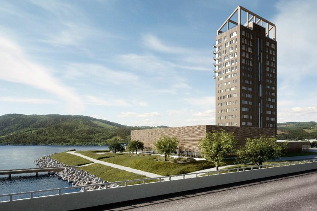 Wood Hotel i Mjøstårnet åpner 1. mars 2019. (Foto: Ewe Images/Voll/Mjøstårnet/Wood Hotel)