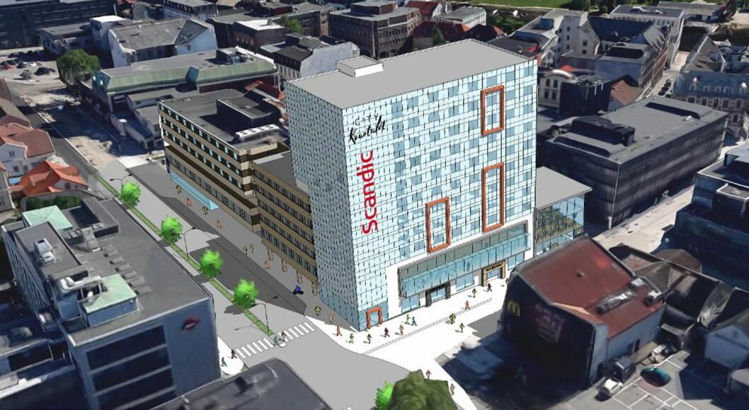 Et 12 etasjer høyt tilbygg til dagens Scandic City i Fredrikstad trekkes over en liten del av dagens seks etasjer høye hotellbygg. (Illustrasjon: Bjar Arkitekter)