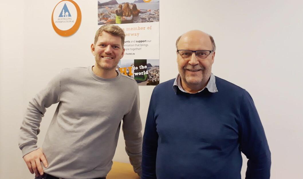 Vidar Skagen (til høyre) blir ny daglig leder for Hostelling International Norge, mens Tobias Johansen blir ny ny prosjektleder for «Region Øst». (Foto: HI Norge)