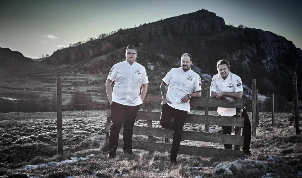Commis Håvard André Josdal Østebø (fra venstre), kokk Christian André Pettersen og coach Gunnar Hvarnes er klar for Bocuse d'Or 2019. (Foto: Tom Haga)