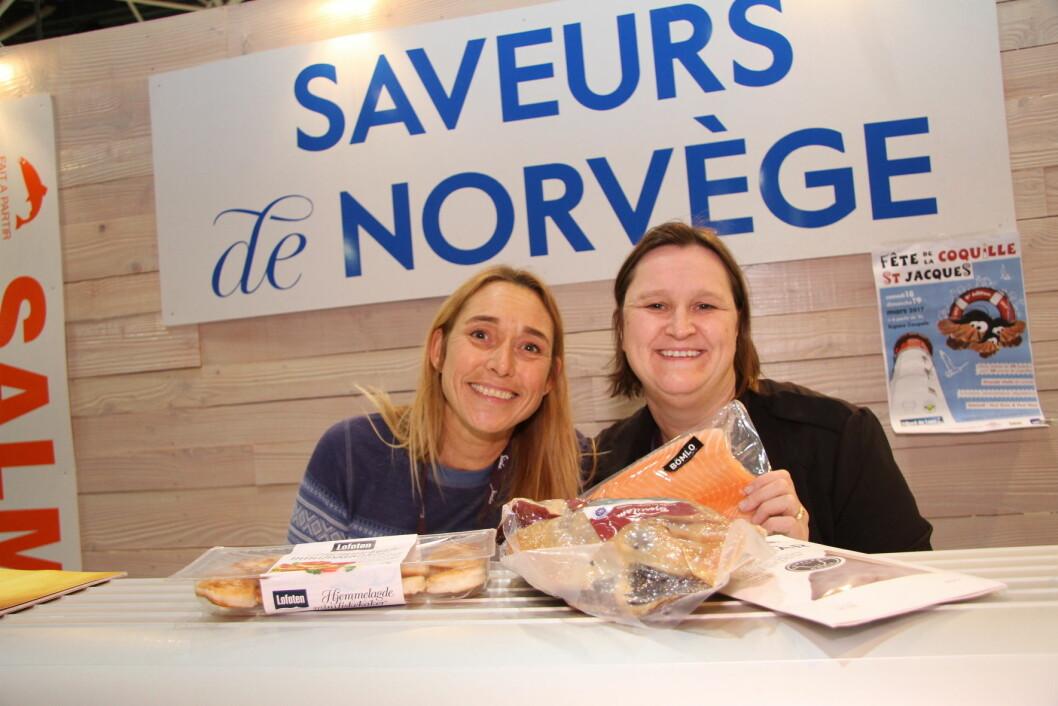 Saveurs de Norvège (SdN) er klar for salgskamp på Sirha-messen. Til venstre Tone Flisnes Collomb-Rey og Eidis W. Biehler. (Arkivfoto: Morten Holt)