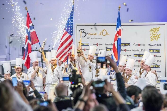 USA vant Bocuse d'Or sist gang, i 2017. Da tok Norge og Christopher W. Davidsen sølv (til venstre i bildet). (Foto: Tom Haga/Bocuse d'Or Norge)