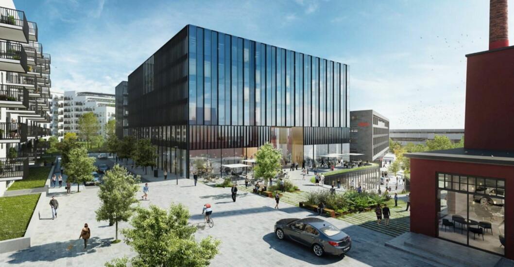 Slik blir det nye hotellet på Hasle, som får 217 rom. (Illustrasjon: AF Gruppen)