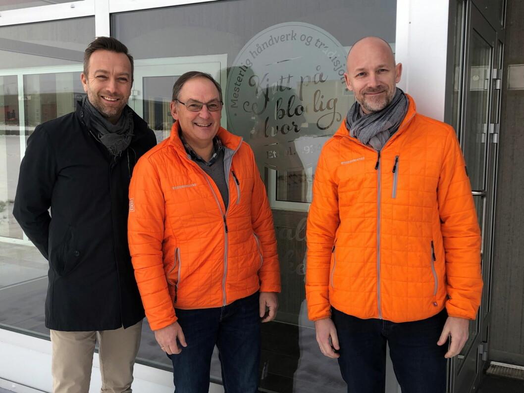 Stian Eide, regionsjef NHO Reiseliv Innkjøpskjeden (fra venstre), Vidar Mellegård, salgssjef og Thomas G. Langeland, selger hos Brødr. Ringstad. (Foto: NHO Reiseliv Innkjøpskjeden)