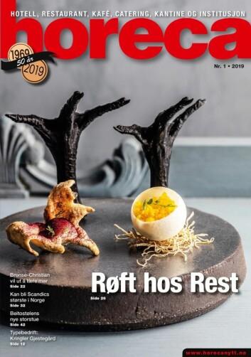 Omslaget på Horecas første utgave i 2019. (Foto: Restaurant Rest/layout: Tove Sissel Larsgård)