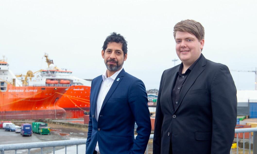 Administrerende direktør Håkon Wåge-Lorentzen (til venstre) og Geir Olav Rød i Get Together. Sistnevnte skal lede det nye Haugesund-kontoret. (Foto: Get Together)