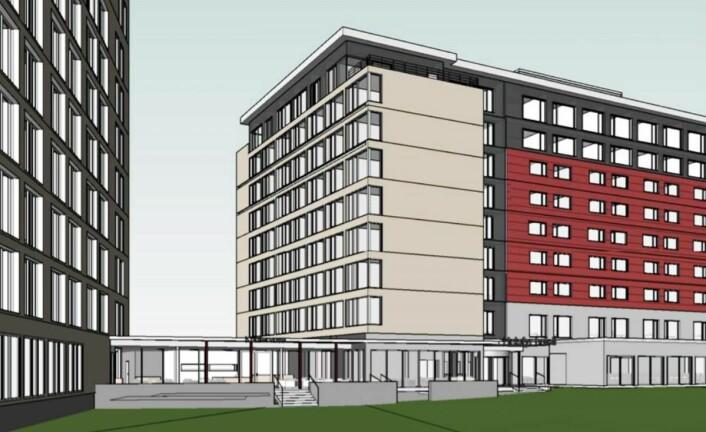 En glassgang skal forbinde den gamle delen (til høyre) med den nye delen (til venstre). Den grå delen i midten ble oppført i 2007, mens de mørkegrå to øverste etasjene ble bygd i 2010/11. (Illustrasjon: Scandic Helsfyr)