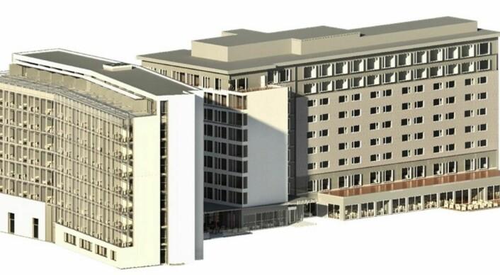 Den nye hotelldelen (til venstre) skal bygges der det i dag er parkeringsplass. (Illustrasjon: Scandic Helsfyr)