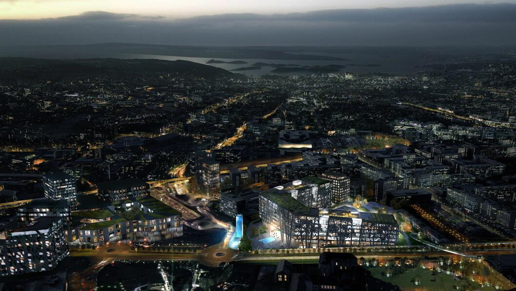 Radisson Red skal etableres i Økern Portal, og blir med det første Radisson Red-hotellet i Norge. (Illustrasjon: Økern Portal/Radisson Hotel Group)