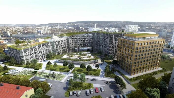 Økern Portal skal ferdigstilles i 2021. Hotelldelen til høyre i skissen. (Illustrasjon: Økern Portal/Radisson Hotel Group)